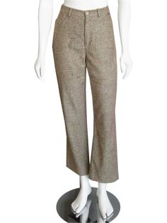 Escada Sport Cropped Tweed Wool Pants size 38  These fine Escada Sport pants are made out of a wool blend tweed material, and come in a medium brown color with lime green undertones...  #Escada #EscadaClothing #EScadaPants #Tweed #wool #Cropped #Authentic #GentlyUsed #PreOwned #Used #designer #Consignment #Resale #ForSale #Sale #OnSale