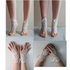 SHOES OR GLOVES! Bridal ivory barefoot sandals, french lace , wedding anklet, free ship, anklet, bridal, wedding, Barefoot Sandals Wedding, Beach Wedding Shoes, Bridal Shoes, Lace Wedding, Accessoires Photo, Ballet Shoes, Dance Shoes, Wedding Photo Props, Bare Foot Sandals