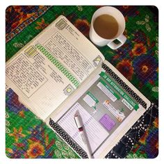 hgjanplannerchallenge Day 10: Where do I plan? On the bench in front of the TV. In the morning I drink my tea/coffee & watch a show while I plan my day. In the evening I journal while K & I watch TV together. Sometimes K journals too.    by thejournalfactory