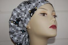 Bouffant Scrub Cap ChocoCat Black Gray and by hotheadzscrubcaps, $12.50