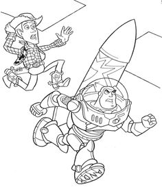 Woody And Buzz Lightyear Flying Coloring Page Kids Coloring