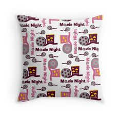 #bedding #bedroom #pillow #movies #cinema #redbubble #pattern