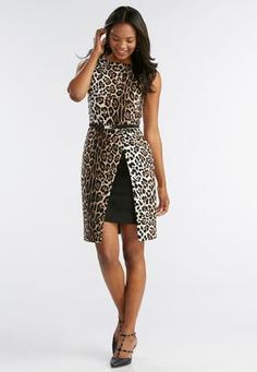 Belted Leopard Print Slit Sheath Dress Junior/Misses | Cato Fashions