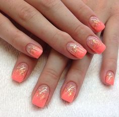 Pictures of coral acrylic nails for prom - Coral Acrylic Nails, Gold Nails, Glitter Nails, Coral Ombre Nails, Acrylic Nails For Summer Glitter, Trendy Nails, Cute Nails, Uñas Color Coral, Dance Nails