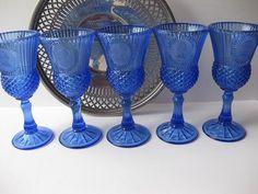Vintage Blue Fostoria Glass Goblets