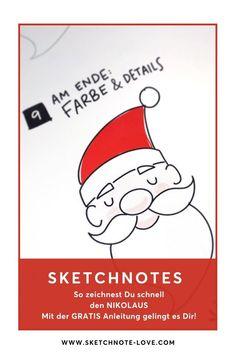 Einen freundlichen Nikolaus mit Sketchnotes zu zeichnen ist wirklich kinderleicht. Hier findest du jetzt meine kostenlose Anleitung.  Sketchnotes Ideen | Sketchnotes Tiere | Sketchnotes Essen | Sketchnotes Blumen | Sketchnotes Rahmen | Sketchnotes Schrift | Sketchnotes Schule Sketchnotes deutsch | Sketchnotes  Weihnachtsmann | Weihnachten | Vorlage Weihnachten | Wunschzettel |  Wunschliste |  Wunschzettel Ideen |  Wunschzettel Weihnachten basteln  #Sketchnotes-love