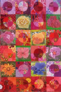 Kaffe Fassett fabrics and digital flowers quilt, 2009 Norwegian Quilt show, photo by Ravenhill