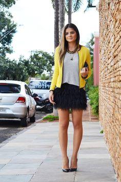 Thassia - blazer amarelo - saia pluma. Blaser Amarelo d5452cbed35f5