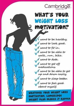 Focus on what you want to achieve and make ut happen with Cambridge Weight Plan
