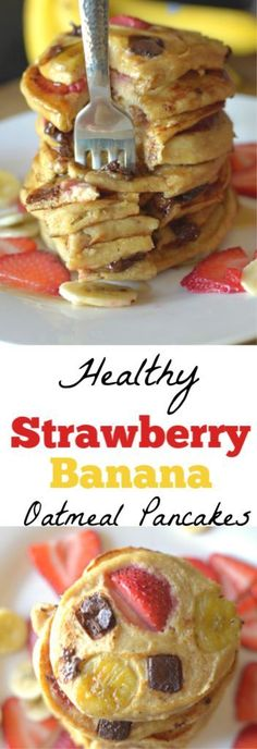 Change your Food-it-tude with our easy, nourishing and delicious recipes {by Two Former College Athletes} Banana Oatmeal Pancakes, Strawberry Pancakes, Strawberry Oatmeal, Pancakes And Waffles, Protein Pancakes, Pancakes Easy, Buttermilk Pancakes, Healthy Breakfast Recipes, Avocado Breakfast