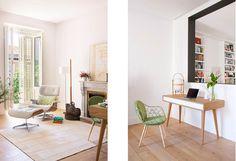 salón nórdico Moderna reforma en Madrid distribución diáfana distribución abierta decoración interiores cocina moderna cocina con isla blog decoración nórdica