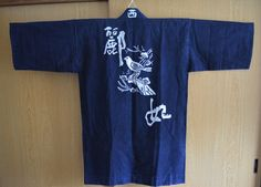 Indigo blue aizome cotton jacket, vintage Japanese haori, kimono style hapi coat by StyledinJapan on Etsy