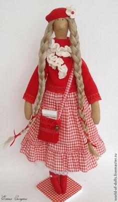 Купить Элизабет -кукла в стиле Тильда - ярко-красный, кукла ручной работы…