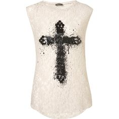 TOPSHOP Lace Foil Cross Tank (1,085 DOP) ❤ liked on Polyvore featuring tops, shirts, tank tops, blusas, tanks, cream, pink lace top, pink shirt, lace tank and cream tank top