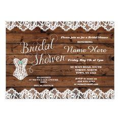 Lingerie Bridal Shower Lace Corset wood Invitation