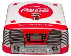 BigBen TD79 II Kompaktanlage Plattenspieler/ Radio/ CDPlayer/ MP3-Player im zeitlosen Coca Cola Design
