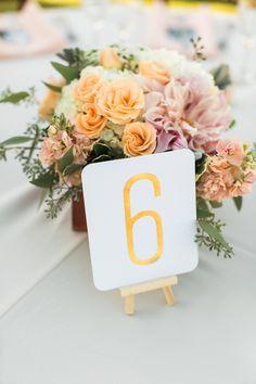 gold leaf table number @weddingchicks