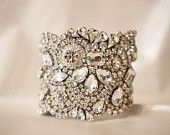 Classic Old Hollywood Rhinestone Cuff wedding jewelry - Couture Love on Etsy