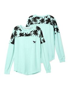 Greay crewneck to throw over your swimsuit when it gets cool on the beach at night. Victoria's Secret PINK varsity crew in a beautiful mint color, with a black palm tree print and PINK logo dog on front size medium. Smoke-free home. Perfume Victoria Secret, Victoria Secret Rosa, Victoria Secrets, Victoria Secret Outfits, Pink Outfits, Cute Outfits, Teen Fashion, Fashion Outfits, Fashion Fashion