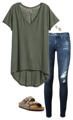 featuring AG Adriano Goldschmied, H&M, Birkenstock and Kate Spade Mode Style, Style Me, Look Fashion, Autumn Fashion, Mode Outfits, Fashion Outfits, Vetement Fashion, Cooler Look, Looks Plus Size