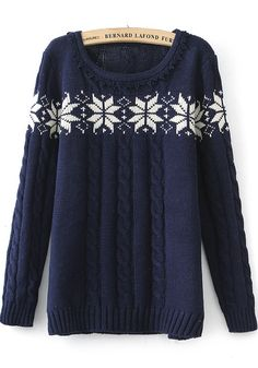 Navy Blue and White Snowflakes  Long Sleeve Knit Holiday Sweater Fashion