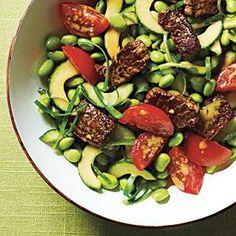 Edamame Salad with Crisp Steak Bits Recipe   MyRecipes.com
