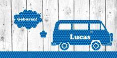 Geboortekaartje Volkswagenbus Lucas