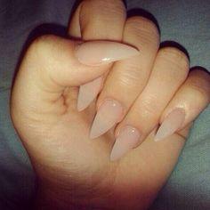 Natural color stilletos nails