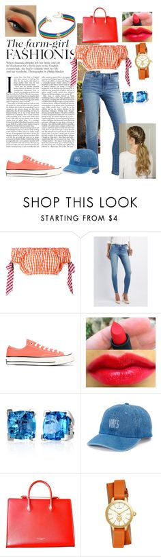 """""""Gingham Farm girl"""" by chinnychoo ❤ liked on Polyvore featuring House of Holland, Refuge, Converse, Effy Jewelry, SO, Strathberry, Tory Burch and INC International Concepts"""