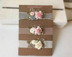 Set of 3 Neutral Headbands Floral Headbands in Light Pink