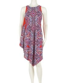 Paisley Print Slip Dress - This slip dress from MSK has a sexy modern appeal draped to one side and styled in a bold paisley print. A handkerchief hemline lends a bohemian touch.