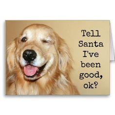 Golden Retriever Tell Santa Christmas Card