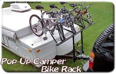 Pop-Up Camper Bike Rack from Discount Ramps is an ingenious way to bring along your bicycles for the family camping trip! Haul two to four bikes with these bike carriers, or increase the capacity to six bicycles with an optional accessory kit. Starting at $334.99.