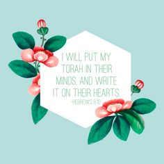Hebrews 8:10 - He will put his words on our minds and write them on our hearts | Land of Honey