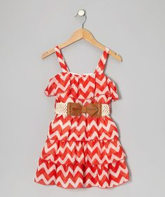 Coral Zigzag Dress by Just Kids on #zulily