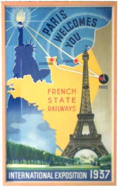 """""""This rare Paris 1937 Exposition poster was created in France """"By and for the French State Railways"""" for the American Market. The poster is dominated by the Statue of Liberty and the Eiffel Tower (with the 1937 Exhibition buildings in the background) over a map of France in yellow. Lines lead from Liberty's torch to the French ports of Cherbourg and Le Havre (ports of entry for steamships) to Paris…connected by the French Railway. """""""