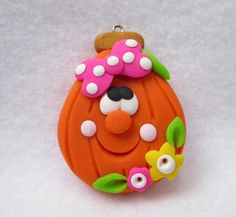 Polymer Clay Pumpkin Pendant - Pumpkin with Pink Bow - Pumpkin Pendant - Halloween Pendant - Bow Making Supplies - Ready to Ship