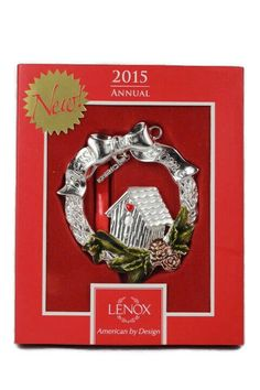 "Lenox 2015 Annual Bless This Home Christmas Wreath Ornament 3.5"" Condition: New in box."