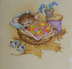 Cute Mouse, Children's Book Illustration, Winnie The Pooh, Childrens Books, Watercolor Art, Cute Animals, Bunny, Greeting Cards, Sleep Well