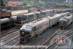 PRR at Johnstown,  showing many high horsepower Fairbanks-Morse locomotives at the engine terminal.