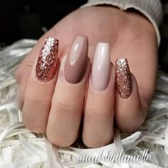 50 creative styles for nude nails you will love Nails - acrylic nails - coffin nails - natural Rose Gold Nails, Pink Nails, Gel Nails, Glittery Nails, Nail Polish, Dark Nude Nails, Gold Glitter, Nude Nails With Glitter, Bright Red Nails