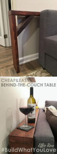 Easy DIY Behind The Couch Table. Maybe you could put a lip board on the top to prob pics on...