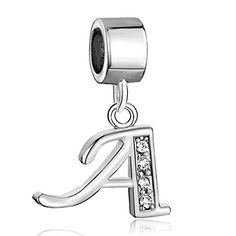 e3567e82b3e CharmSStory Alphabet Letter A Charms Initial Spacer Dangle Synthetic  Crystal Beads Charm For Bracelets