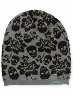 Skull With Flowers Beanie by Loungefly (Grey/Black)