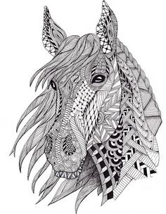 Adult Coloring Pages: Horse 3