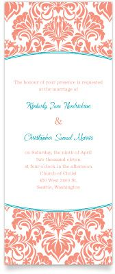 Damask Dream Flat Tea Length Wedding Invite in Coral and Turquoise