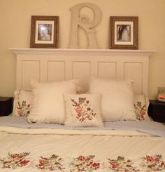90 year old 5 panel door converted by Vintage Headboards to fit a king or queen size bed painted satin black