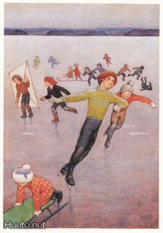 koivu Christmas Sketch, Christmas Tale, Vintage Christmas Cards, Skating Pictures, Vintage Book Art, Christmas Illustration, Book Illustration, Winter Fun, Winter Sports