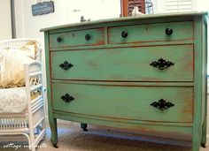 Paint and distress an old dresser. I have an old dresser that is very similar to this. And it desperately needs painting.