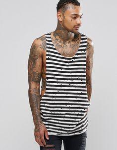 Image 1 ofASOS Longline Stripe Sleeveless T-Shirt With Distress And Dropped Armhole